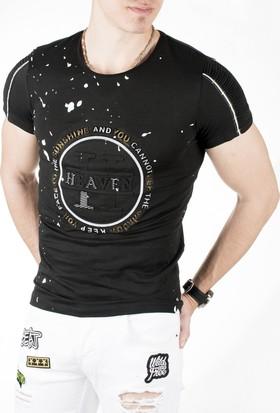 Deepsea Siyah Kolları Pileli Boya Desenli Likralı Erkek Tshirt 1819090
