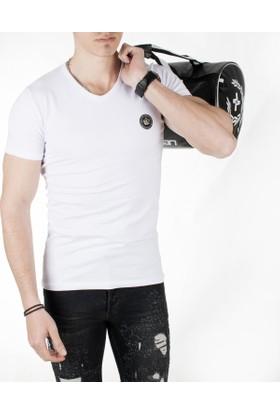 Deepsea Beyaz Göğsü Armalı V Yakalı Likralı Dar Kesim Erkek Tshirt 1818852