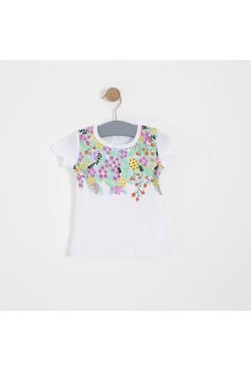 Soobe Kız Bebek Kısa Kol T-Shirt Beyaz