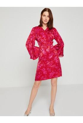 Koton Desenli Kadife Elbise