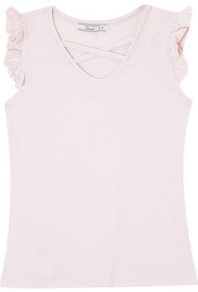 Goose Kız Çocuk Önü Çapraz Kolu Buzgulu T-Shirt