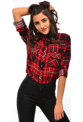 Modaplaza Bayan Cep Taş Detaylı Gömlek