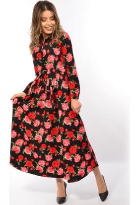Helly Bayan Çiçek Desenli Elbise He-3179