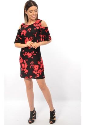 Mgn Bayan Çiçek Desenli Omuzları Açık Elbise 50444