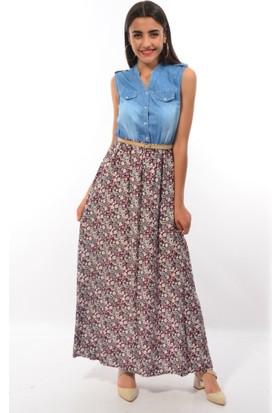 Modaplaza Bayan Desenli Kot Elbise 1328