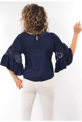 Modaplaza Bayan Kolları Volanlı Dantelli Bluz 0340
