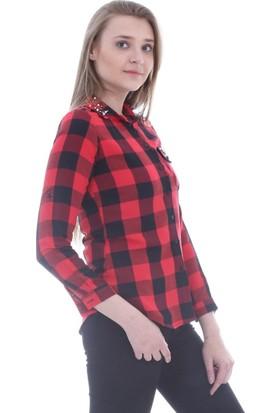 Modaplaza İncili Ekose Bordo Gömlek 3391