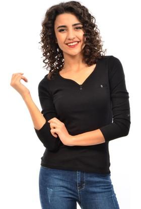 Dies Bayan Yaka Düğmeli Sweatshirt