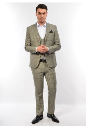 Suitmen Erkek Slim Fit Yelekli Takım Elbise