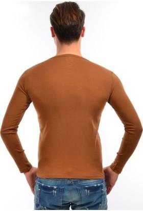 Dies Uzun Kol V Yaka Omuz Parçalı Camel Sweatshirt