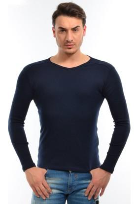 Dies Uzun Kol V Yaka Omuz Parçalı Lacivert Sweatshirt