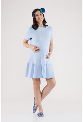 Lyn Devon Ruffle Elbise Mavi