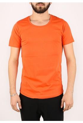 Madmext Bisiklet Yaka Turuncu T-shirt 2308
