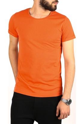 Madmext Bisiklet Yaka Basic Turuncu T-Shirt 2450