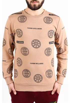 Madmext Damga Baskılı Camel Sweatshirt 2060