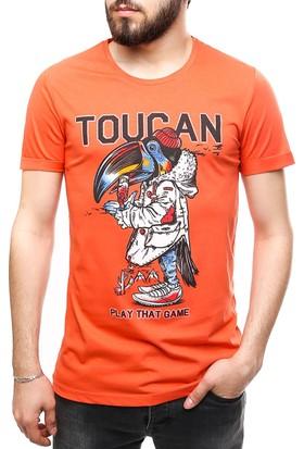 Madmext Baskılı Turuncu T-Shirt 2474