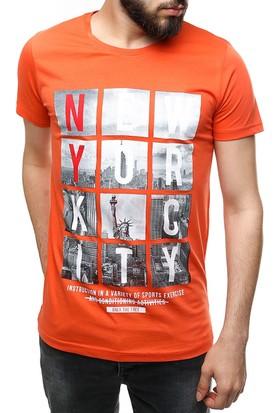 Madmext Baskılı Turuncu T-Shirt 2475