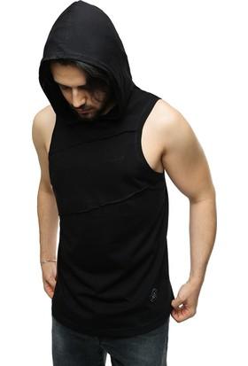 Madmext Siyah Kapşonlu Kolsuz T-Shirt 2538