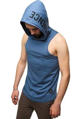 Madmext İndigo Kapşonlu Kolsuz T-Shirt 2537