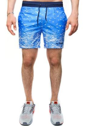 Madmext Baskılı Mavi Yüzme Şortu 2377