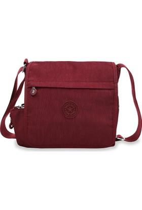 Smart Bags Krinkıl Kumaş Kadın Çapraz Çantası Bordo