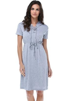 Tena Elb.6483 Kapüşonlu Yakası Bağcıklı Elbise