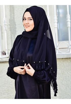 Argite Eşarp Abiye Şifon Şal Püsküllü
