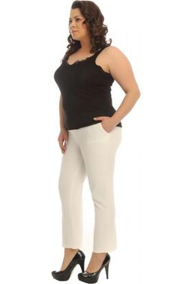 Modkofoni Kemerli Beyaz Bilek Pantolon
