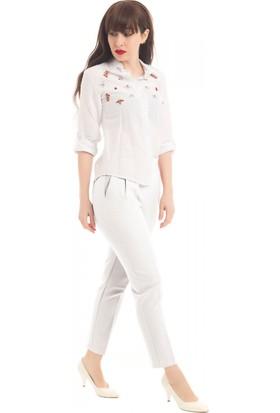 Modkofoni Belden Lastikli Beyaz Bilek Pantolon