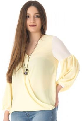 Modkofoni Takı Detaylı Uzun Kollu Sarı Bluz