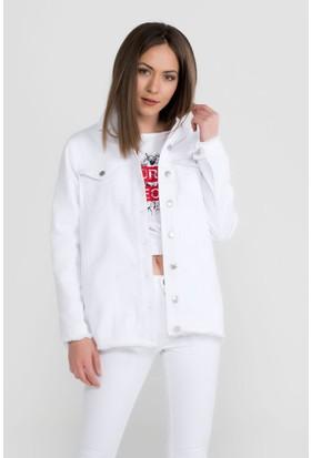 Vena Jilly Beyaz Yırtıklı Boyfriend Denim Ceket
