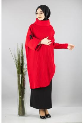 Cty Kadın Çıkarılabilir Yaka Detaylı Triko Tunik 2901 Kırmızı
