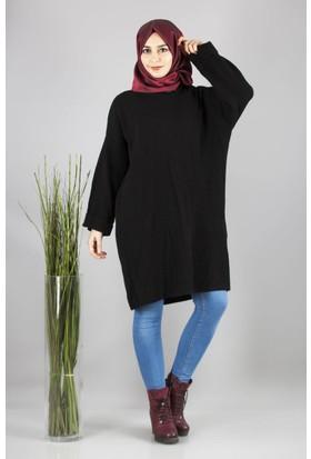 Cty Kadın Arkası Bağcık Detaylı Triko Tunik Siyah 2898