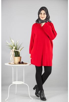 Cty Kadın Arkası Bağcık Detaylı Triko Tunik Kırmızı 2898