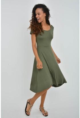 Rodinhills Kadın Haki Sırtı Çapraz Viskon Elbise 201223