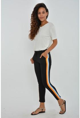 Rodinhills Kadın Turuncu Yanı Renkli Şerit Cepli Pantolon 9576