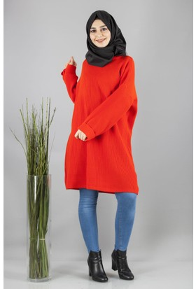 Cty Kadın Arkası Bağcık Detaylı Triko Tunik Orange 2898