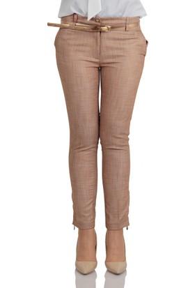 Canseven Kadın Canseven Paçası Fermuarlı Pantolon 1020 Bej