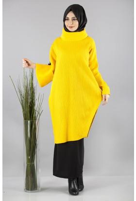 Cty Kadın Çıkarılabilir Yaka Detaylı Triko Tunik 2901 Sarı