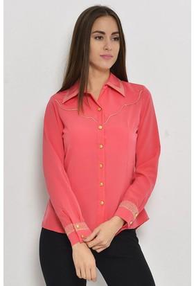 Hk Kadın Biye Detaylı Kadın Gömlek 4113 Mercan