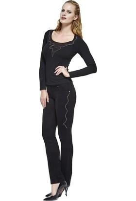 Dodona 2645 Tasarım Zarif Taşlı Siyah Pantolon