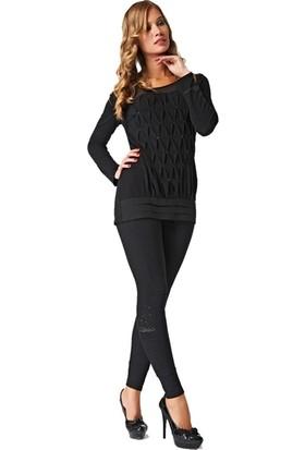 Dodona 2175 Taşlı Siyah Tayt Pantolon