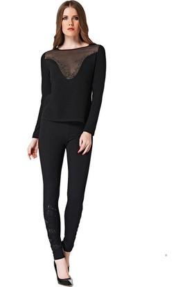 Dodona 2056 Tasarım Taşlı Siyah Tayt Pantolon