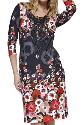 Dodona 2761 Çiçek Desenli Şık Triko Elbise