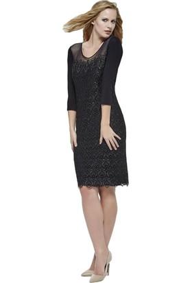 Dodona 2658 Tasarım Güpürlü Siyah Abiye Elbise
