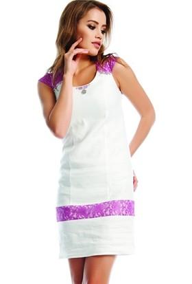 Dodona 1777 Dantel Detaylı Beyaz Keten Elbise