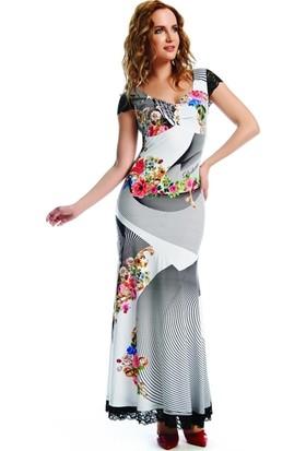 Dodona 1668 Tasarım Dantel Detaylı Şık Elbise