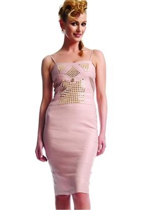 Dodona 1593 Swarovski Metalli Tasarım Keten Elbise