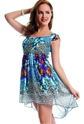 Dodona 1559 Rengarenk Taşlı Mini Gece Elbisesi