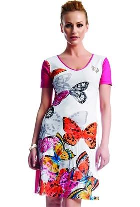 Dodona 1550 Tasarım Kelebek Desenli Elbise